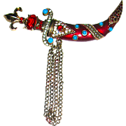 Rare 40's Sterling Silver Guilloche Enameled Bejeweled Chatelaine Brooch by Urie Mandle