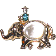 50% Sale - Rare Jelly Belly Elephant & Rider Pin by Adolph Katz