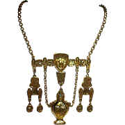 Exceptional Goldette Runway Egyptian Revival Pharaoh Bib Necklace