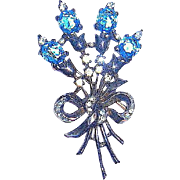 Stunning Crown Trifari Sterling Silver Brooch, Jeweled Flower Bouquet