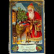 Beautiful Antique German Santa Claus and Deer Delivering Gifts GEL Postcard