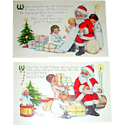 Pair of Whitney Christmas Postcards Featuring Santa Claus and Children