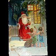 Scarce German Christmas Postcard, GEL Santa Claus and Cherubs Deliver Gifts