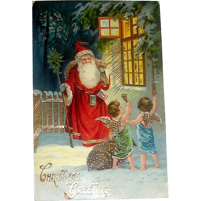 Scarce German Christmas Postcard, GEL Santa Claus and Cherubs Deliver Gifts