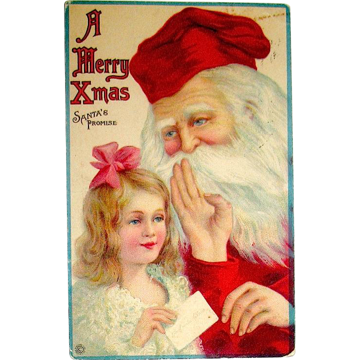 Girl Gives Santa Claus a Note Christmas Postcard—Stecher Publisher