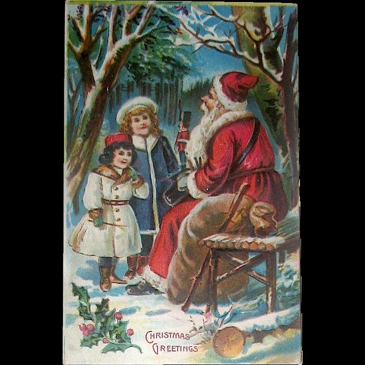 Antique Saxony Santa Claus and Children Christmas Postcard—Unused
