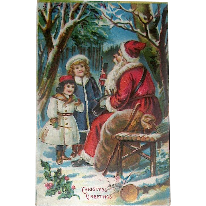 Antique Saxony Santa Claus and Children Christmas Postcard—Unused