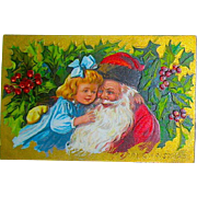 Jolly Santa Claus & Sweet Child Antique Christmas Postcard—UNUSED