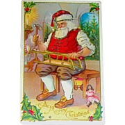 Santa Claus Making Toys in His Workshop, Christmas Postcard