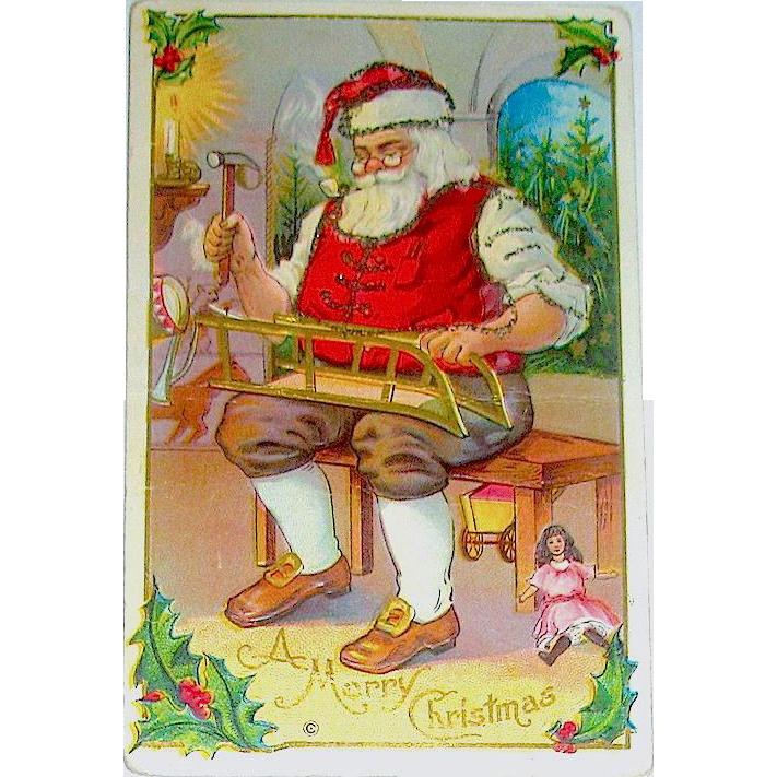 Santa Claus Making Toys in His Workshop, Christmas Postcard