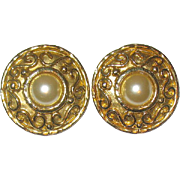 "Vintage ""Edouard Rambaud Paris"" Gold Plated Etruscan Designed Earrings"