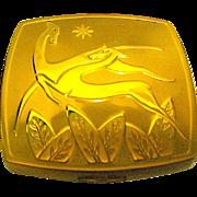 Gorgeous American Beauty Rich Goldtone Art Deco Gazelles Compact