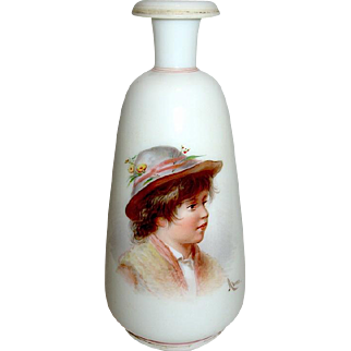 AHNE Signed Bohemian Art Glass Portrait Vase