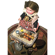 20's - 30's Cabinet Size Peddler Doll with Original Miniature Wares For Sale