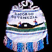 Grand Tour Micro Beaded Venetian Souvenir Purse, Two Scenes, Excellent