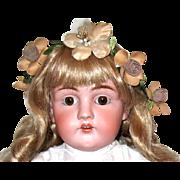 Beautiful Kestner Bisque Doll Wearing Antique Whitework Dress