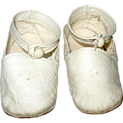 Large White Kid Leather Baby Booties/Shoes with Ankle Straps