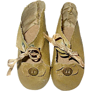 Vintage Tan Oil Cloth Doll Shoes, Very Good Condition