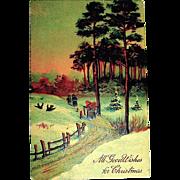 P.F.B. German Christmas Postcard, Sunset on Christmas Eve