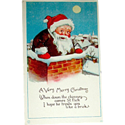Jolly Gnome-Like Santa Claus Stands Inside an Open Chimney