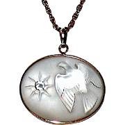 Vintage Marc Lalique L'Air du Temps Frosted Glass Dove Necklace