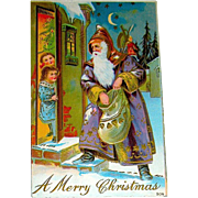 Gorgeous Santa Claus w Children Christmas Postcard