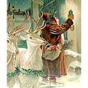 Austrian 1906 Santa Claus & White Reindeer on Christmas Eve Postcard