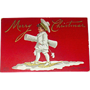 RED Clapsaddle Postcard, Boy in White Delivers Christmas Greetings (1 of 4)
