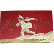 RED Clapsaddle Postcard, Boy in White Delivers Christmas Greetings (2 of 4)