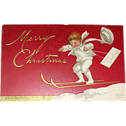 RED Clapsaddle Postcard, Boy in White Delivers Christmas Greetings (3 of 4)