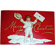 RED Clapsaddle Postcard, Boy in White Delivers Christmas Greetings (4 of 4)