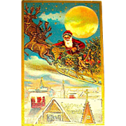 Rare Christmas Postcard, Santa Claus in Sleigh, Reindeer, Full Moon, Rich Gold
