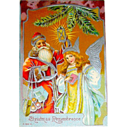 Beautiful German Christmas Postcard, Silver Foil Santa Claus and Angel (1 of 2)