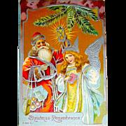 Beautiful German Christmas Postcard, Silver Foil Santa Claus and Angel (1 of 2)