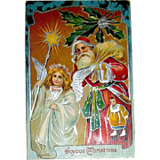 Beautiful German Christmas Postcard, Silver Foil Santa Claus and Angel (2 of 2)