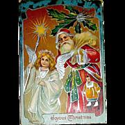 Beautiful German Christmas Postcard, Silver Foil Santa Claus and Angel (2 of 2)