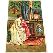 German Christmas Postcard, Santa Claus Delivers Goodies to a Mother and Daughter, Ser. 296, (1 of 2)