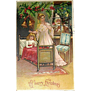 German Christmas Postcard, Santa Claus, a Mother and Daughter, Ser. 296 (2 of 2)
