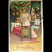 German Christmas Postcard, Santa Claus, a Mother and Daughter, Ser. 296 (2 of 2)