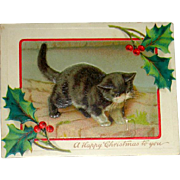 Adorable Antique Children's Puzzle Christmas Greeting Card with Kittens