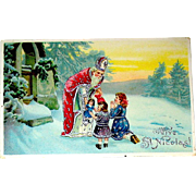 Beautiful Antique St. Nicholas with Children Gel Christmas Postcard