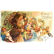 Spectacular Antique Christmas Postcard, Early Santa Claus w Flock of Angels