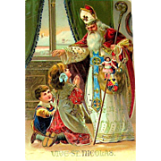Rare 1910 German St. Nicholas / Santa Claus Gorgeous GEL Gilt Christmas Postcard