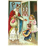 Beautiful GEL Christmas Postcard, Saint Nicholas Blesses Children