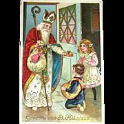 Beautiful GEL Christmas Postcard, Saint Nicholas Blesses Children