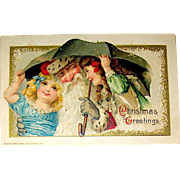 Beautiful Winsch Schmucker Christmas Postcard, Santa Claus and Girls