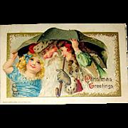 Beautiful Winsch Schmucker Christmas Postcard, Santa Claus and Girls
