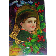 Beautiful Antique Christmas Postcard, Child in Gold Bell--PERFECT (No White on Berries or Leaves)