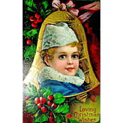Beautiful Antique Christmas Postcard, Child in Gold Bell