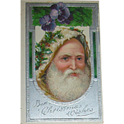 Wonderful Rare Santa Claus Face Designed Christmas Postcard